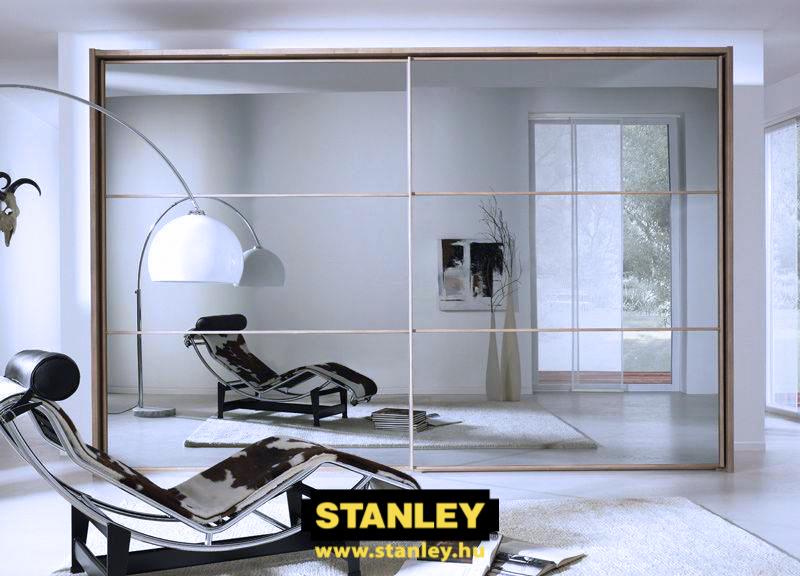 Tükör tolóajtó fautánzatú kerettel, álosztással- Stanley