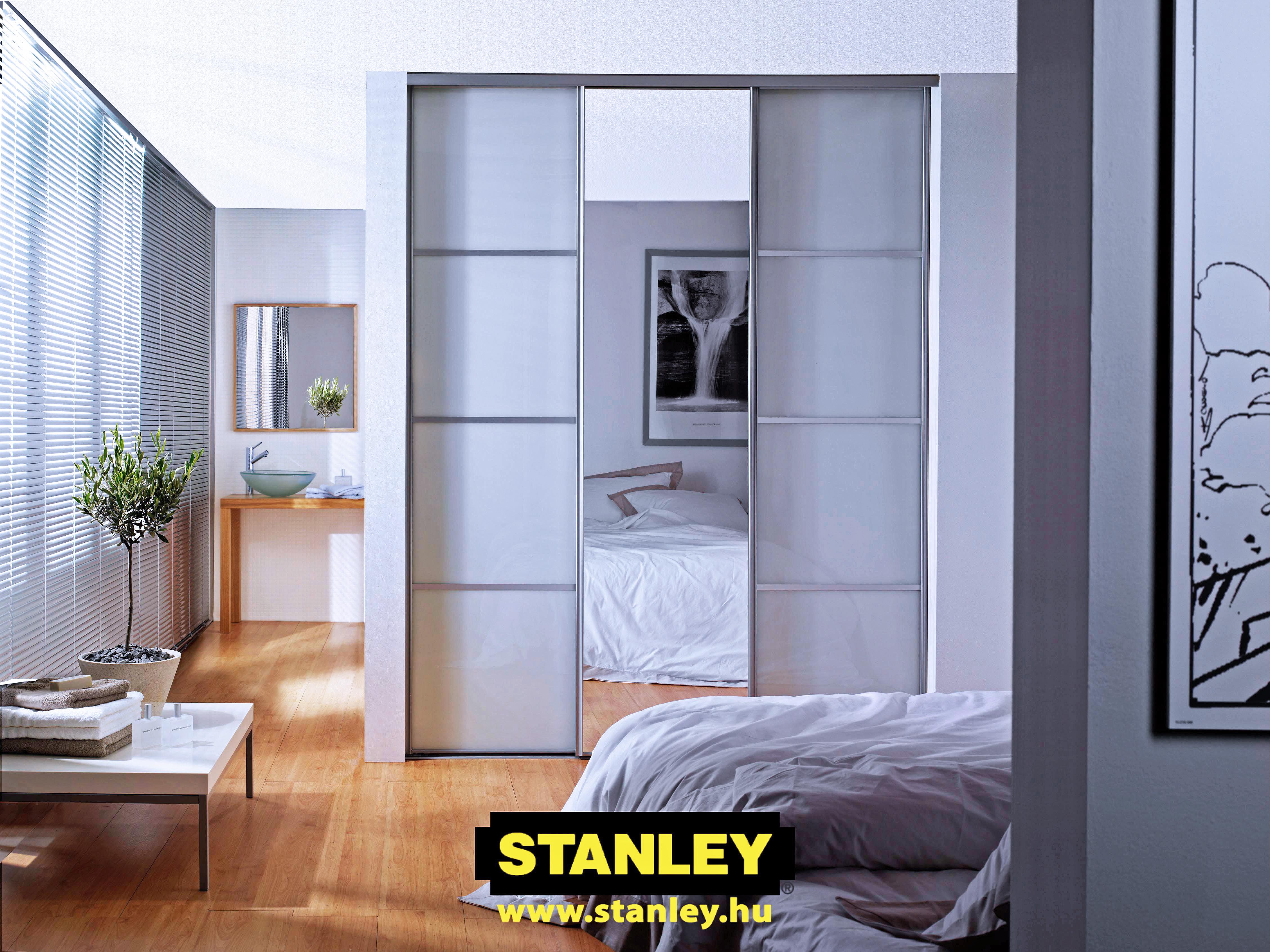 Tolóajtós szekrény, Tejüveg - ezüst tükör álosztásos Stanley tolóajtó