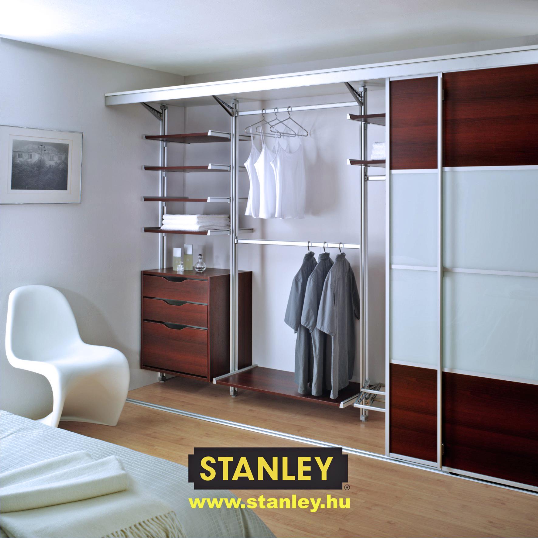 Tolóajtós szekrény, Wenge - Sima fehér osztott térelválasztó Stanley tolóajtó