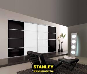 Gardróbszekrény fekete és fehér üveges Minimalist tolóajtókkal - Stanley