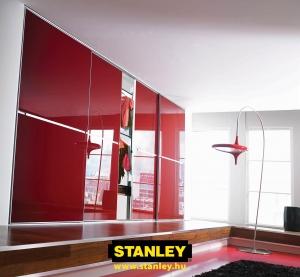 Beépített szekrény piros üveges Minimalist tolóajtóval, egy osztással - Stanley