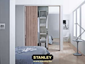 Gardróbszekrény fautánzatú és tükrös Stanley tolóajtóval