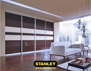 Tolóajtós szekrény osztott színes üveges Stanley tolóajtóval