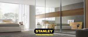 Tükörajtós beépített szekrény Minimalist Stanley tolóajtóval, bútorlap osztóbetétte
