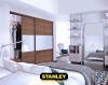 Tolóajtós szekrény :Merano natúr - tejüveg osztott Stanley tolóajtók, beépített szekrény