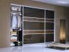 Matt ezüst Klasszikus keretes tolóajtó barna üveg  és fautánzatú bútorlap osztóbetéttel, beépített szekrény kialakítással
